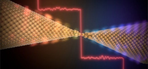 Artist view of quantized heat transport in a gold single-atom contact.