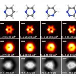 Estructura atómica de moléculas sencillas, su densidad de carga e imágenes AFM simuladas de las mismas.